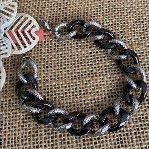 Black Ceramic and Stainless Link Bracelet